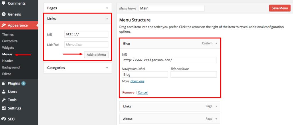 Create Custom Menu Link To The Blog Index