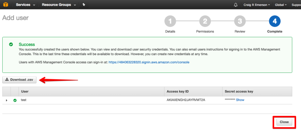 aws management console download credentials