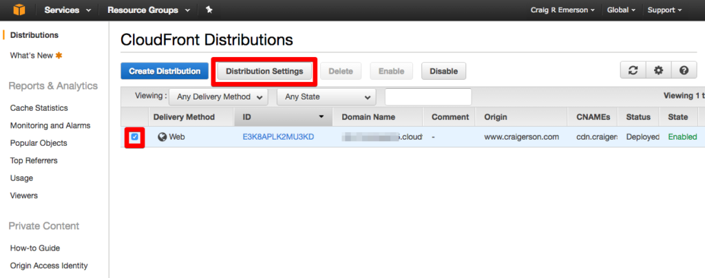 distributions management console settings